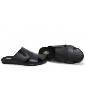 Мъжки чехли - естествена кожа - черни - EO-15705