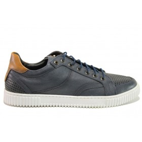 Мъжки обувки - естествена кожа - тъмносин - EO-15234