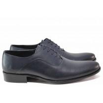 Елегантни мъжки обувки - естествена кожа - тъмносин - EO-15315