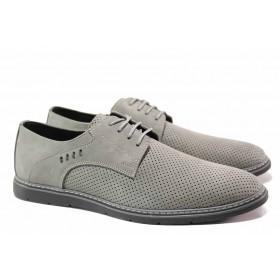 Мъжки обувки - естествен набук - сиви - EO-15475