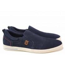 Мъжки обувки - естествен набук - сини - EO-15610