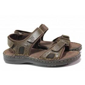 Мъжки сандали - естествена кожа - кафяви - EO-15986