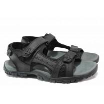 Мъжки сандали - еко-кожа с текстил - черни - EO-15988