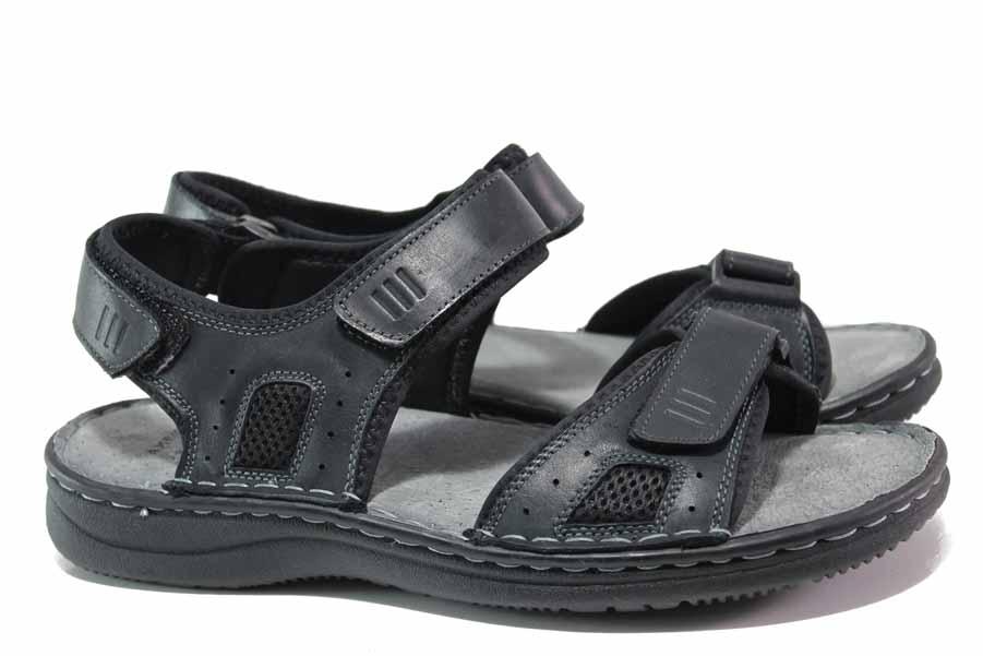 Мъжки сандали - естествена кожа - черни - EO-15987