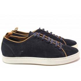 Спортни мъжки обувки - естествен велур - сини - EO-16403