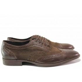 Елегантни мъжки обувки - естествена кожа с естествен велур - кафяви - EO-16400