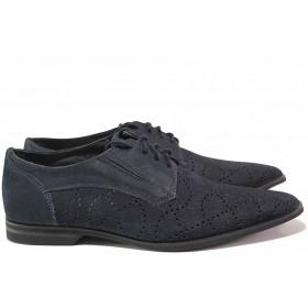 Мъжки обувки - естествен набук - тъмносин - EO-16411