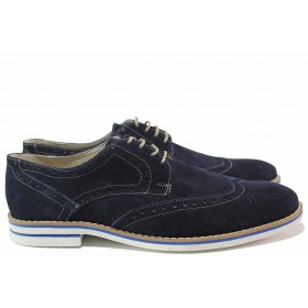Мъжки обувки - естествен велур - сини - EO-16415