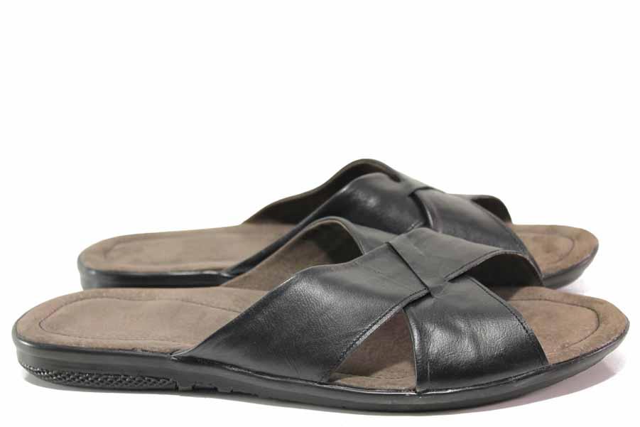 Мъжки чехли - естествена кожа - черни - EO-16365