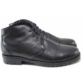 Мъжки боти - естествена кожа - черни - EO-16485
