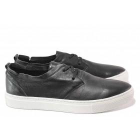Мъжки обувки - естествена кожа - черни - EO-16457