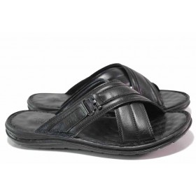 Мъжки чехли - естествена кожа - черни - EO-16700
