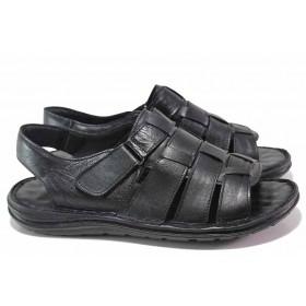 Мъжки сандали - естествена кожа - черни - EO-16702