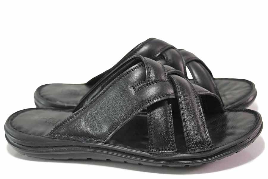 Мъжки чехли - естествена кожа - черни - EO-16701