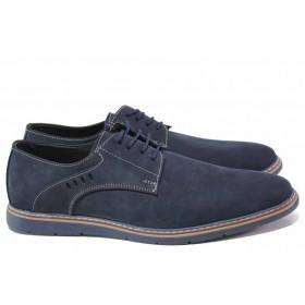 Мъжки обувки - естествен набук - тъмносин - EO-16810