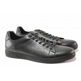 Спортни мъжки обувки - естествена кожа - черни - EO-16931