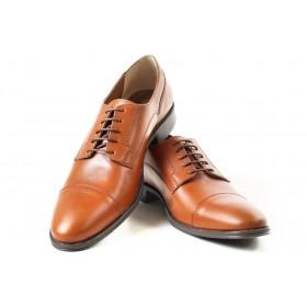Елегантни мъжки обувки - естествена кожа - светлокафяв - EO-16921