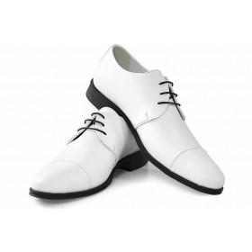 Елегантни мъжки обувки - естествена кожа - бели - EO-16923