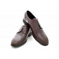 Елегантни мъжки обувки - естествена кожа с перфорация - тъмнокафяв - EO-18161