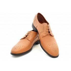 Елегантни мъжки обувки - естествена кожа - светлокафяв - EO-16924