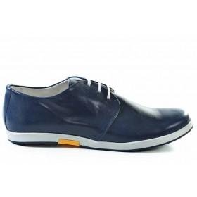 Спортно-елегантни мъжки обувки - естествена кожа - сини - EO-16929