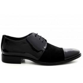 Елегантни мъжки обувки - естествен велур с естествен лак - черни - EO-16928