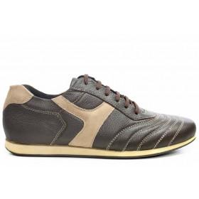 Спортни мъжки обувки - естествена кожа - кафяви - EO-16753