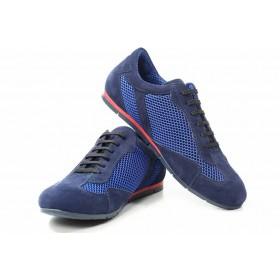 Спортни мъжки обувки - естествен велур - сини - EO-16754