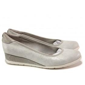 Дамски обувки на платформа - висококачествена еко-кожа - сиви - EO-15169
