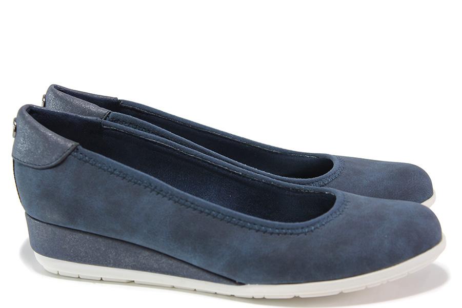 Дамски обувки на платформа - висококачествена еко-кожа - сини - EO-15172