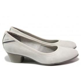 Дамски обувки на среден ток - висококачествена еко-кожа - сиви - EO-15173