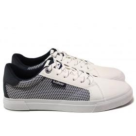 Спортни мъжки обувки - еко-кожа с текстил - бели - EO-15205
