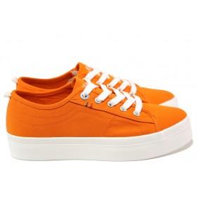 Дамски спортни обувки - висококачествен текстилен материал - оранжеви - EO-15207