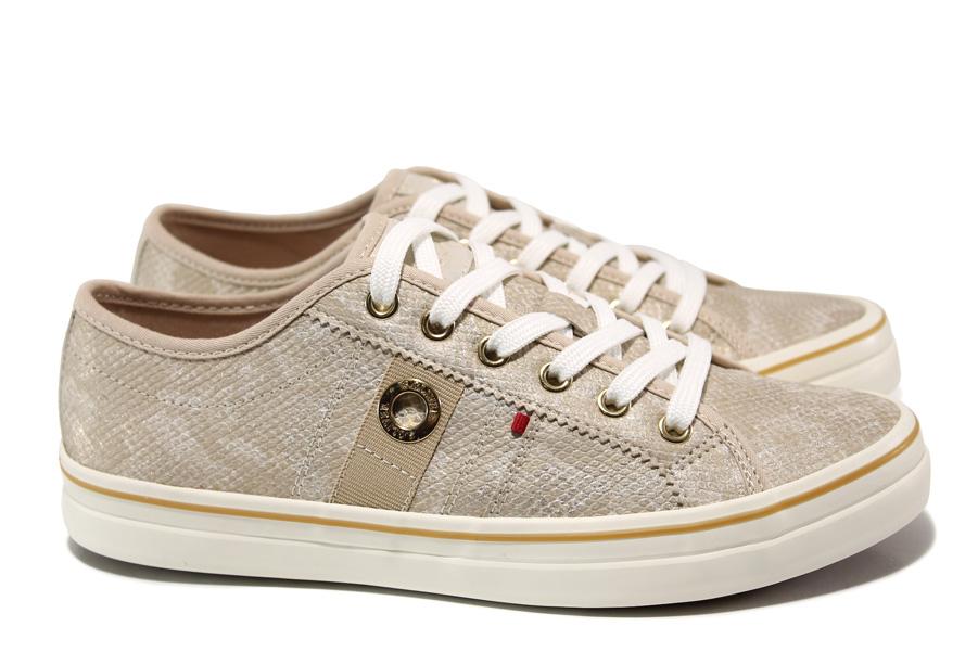 Дамски спортни обувки - висококачествена еко-кожа - бежови - EO-15241