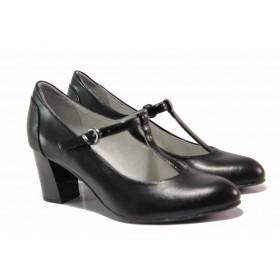 Дамски обувки на висок ток - естествена кожа - черни - EO-15521