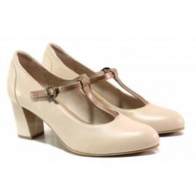 Дамски обувки на висок ток - естествена кожа - бежови - EO-15520