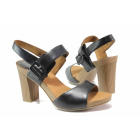 Дамски сандали - естествена кожа - черни - EO-15538