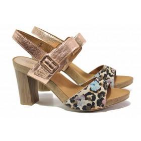 Дамски сандали - естествена кожа - розови - EO-15537