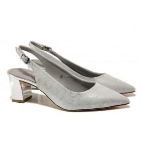 Дамски обувки на среден ток - естествена кожа - сиви - EO-15529
