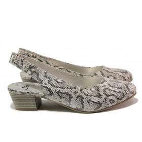 Дамски обувки на среден ток - висококачествена еко-кожа - сиви - EO-15531