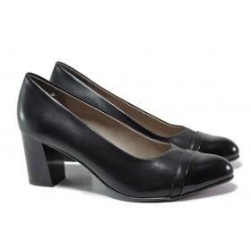 Дамски обувки на висок ток - естествена кожа - черни - EO-15526