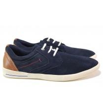 Спортни мъжки обувки - естествен велур - тъмносин - EO-15544