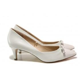 Дамски обувки на среден ток - естествена кожа - бели - EO-15528