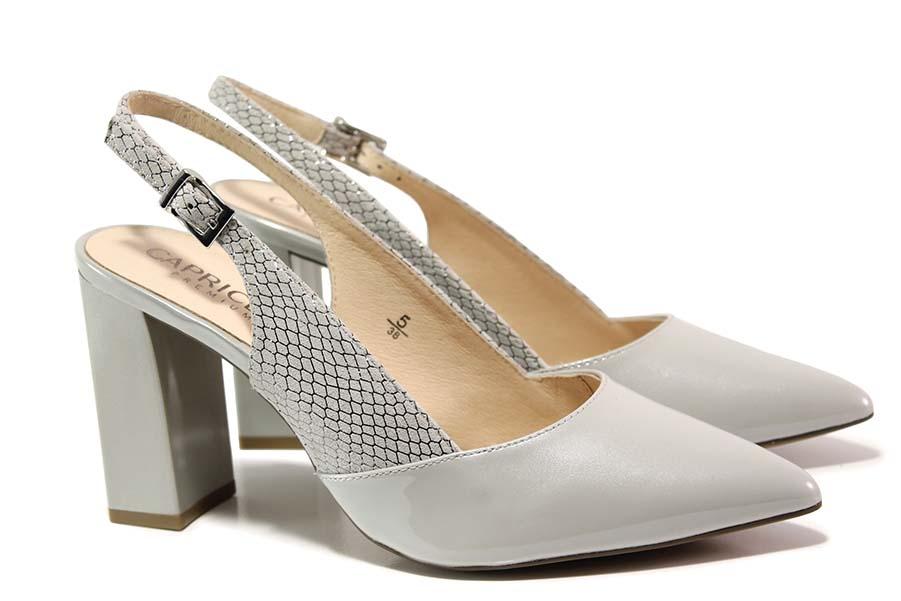 Дамски обувки на висок ток - естествена кожа-лак - сиви - EO-15530