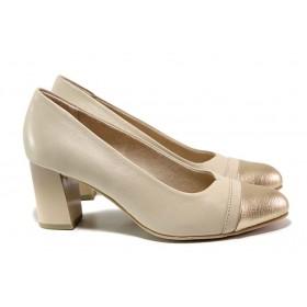 Дамски обувки на висок ток - естествена кожа - бежови - EO-15524