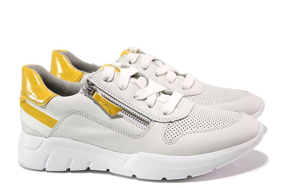 Дамски маратонки - естествена кожа - бели - EO-15608