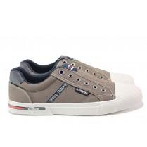 Спортни мъжки обувки - висококачествен текстилен материал - сиви - EO-15536