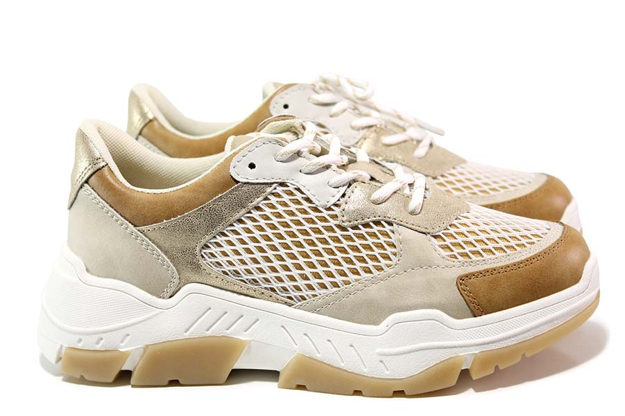 Дамски маратонки - еко-кожа с текстил - бежови - EO-15533
