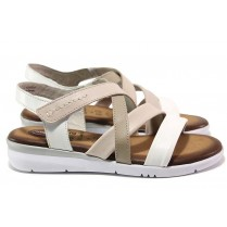 Дамски сандали - естествена кожа - бели - EO-15572