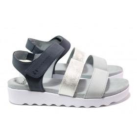 Дамски сандали - еко-кожа с текстил - сини - EO-15570